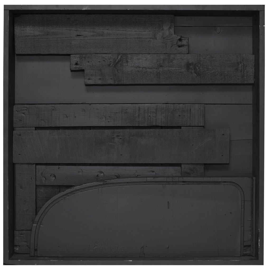 "Louise Nevelson Day/Night XI, 1973, SCULPTURE, wood painted black, 36-5/8 x 36-1/2 x 6-1/4"" (93 x 92.7 x 15.9 cm) © 2016 Estate of Louise Nevelson/Artists Rights Society (ARS), New York"