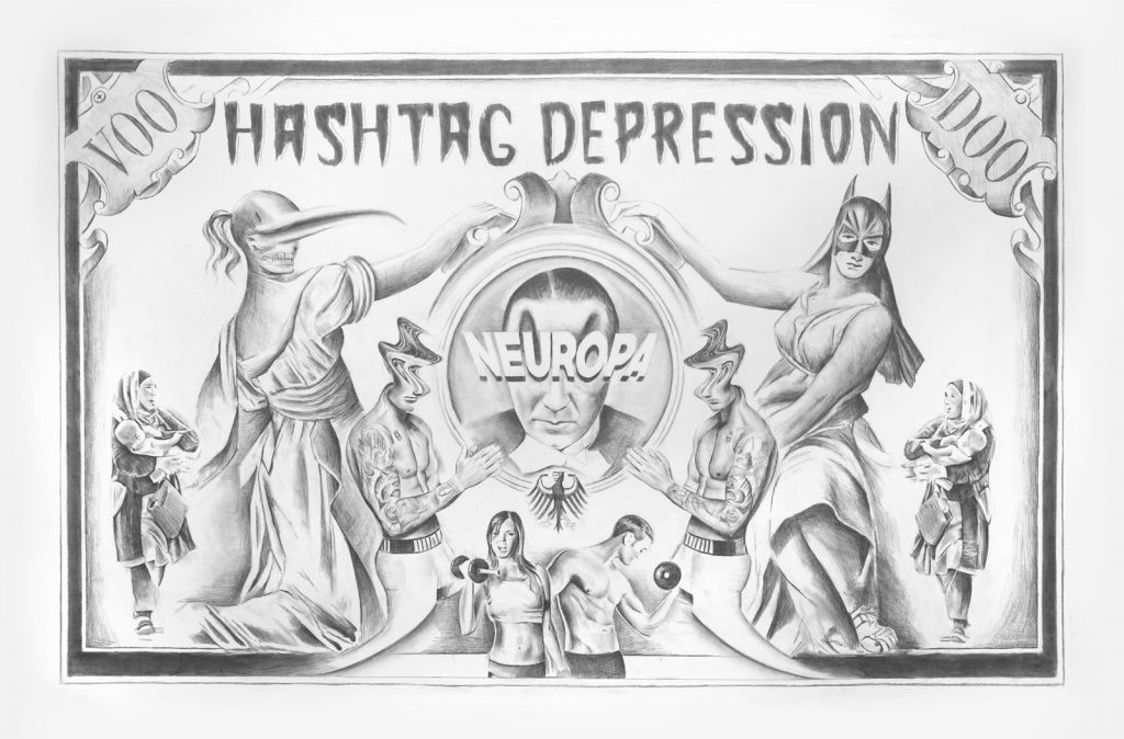 Filip Markiewicz, Hashtag Depression, 2016, pencil on paper, 150 x 230 cm, unique. Courtesy of Aeroplastics contemporary.
