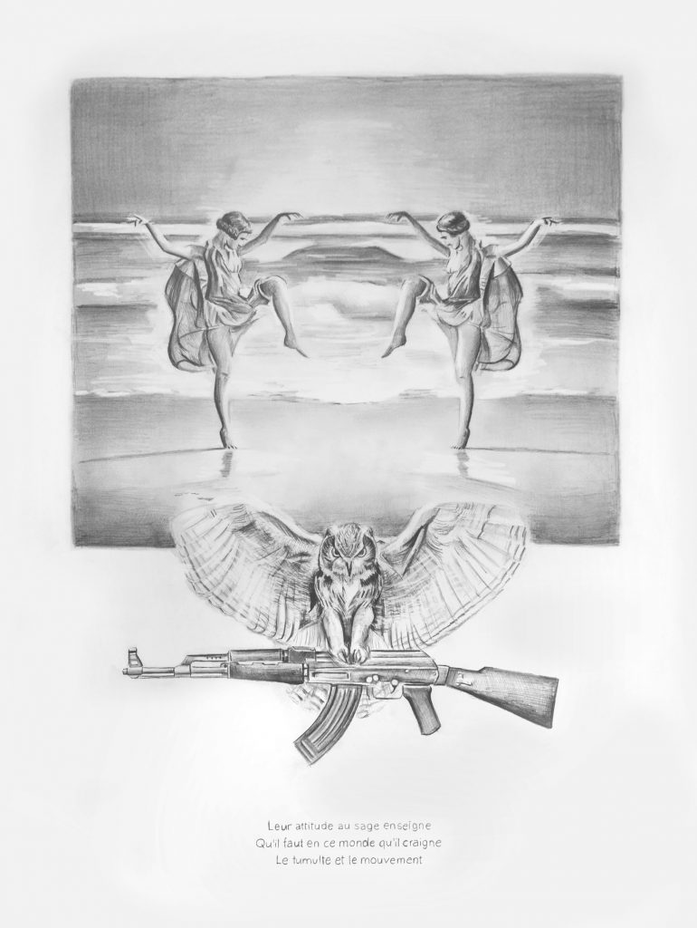 Filip Markiewicz, AK47 Baudelaire, 2016, pencil on paper, 59 x 42 cm, unique. Courtesy of Aeroplastics contemporary.