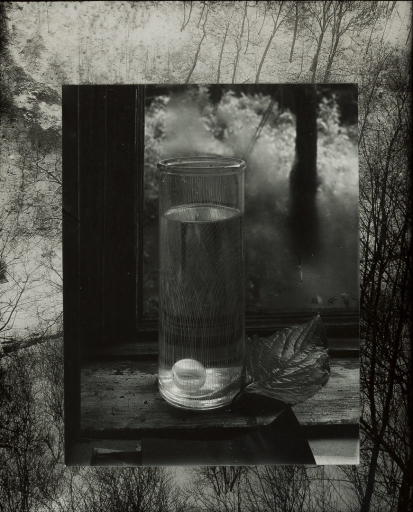 Josef Sudek, Untitled [Still Life on the Window Sill], 1951 photographer's mount, c. 1960 two silver gelatin prints, glass, lead, 48.2 × 39.2 cm Museum of Decorative Arts, Prague © Estate of Josef Sudek.