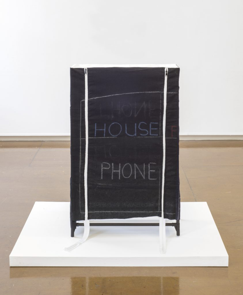 Gerda Scheepers House Phone 2016 Chalk on fabric, metal zips, metal piping, plastic, binder jet 3D printed gypsum 89.5 x 58.4 x 27 cms / 35 1/4 x 23 x 10 5/8 ins. Images courtesy the Artist; Mary Mary, Glasgow. Photographer credit: Max Slaven.