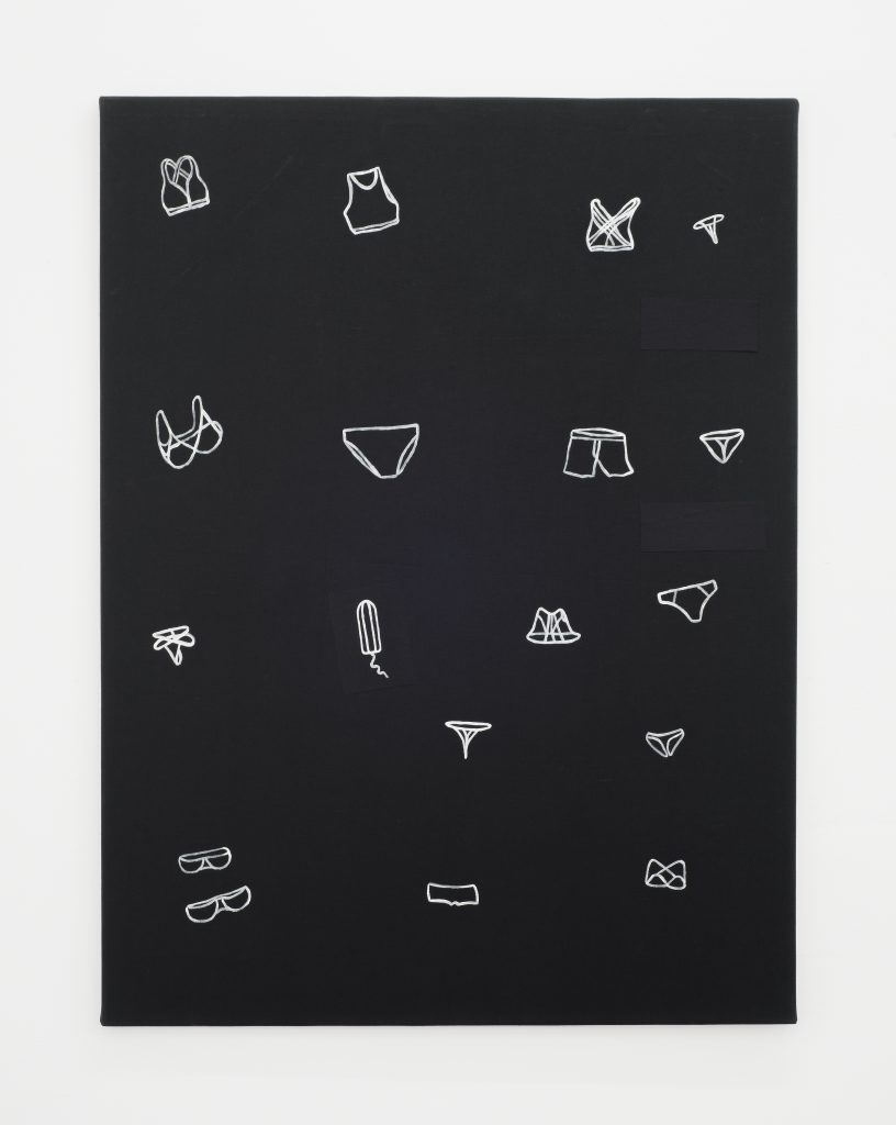 Gerda Scheepers, Some of my underwear, 2016 Acrylic on fabric, 100 x 76.5 x 1.5 cms / 39 3/8 x 30 1/8 x 5/8 ins. Images courtesy the Artist; Mary Mary, Glasgow. Photographer credit: Max Slaven.