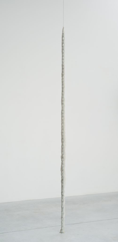 Nicolás Lamas, Column, 2016, 228,4 x 7 x 3 cm, Snake skin and metal. Courtesy of Meessen De Clercq.