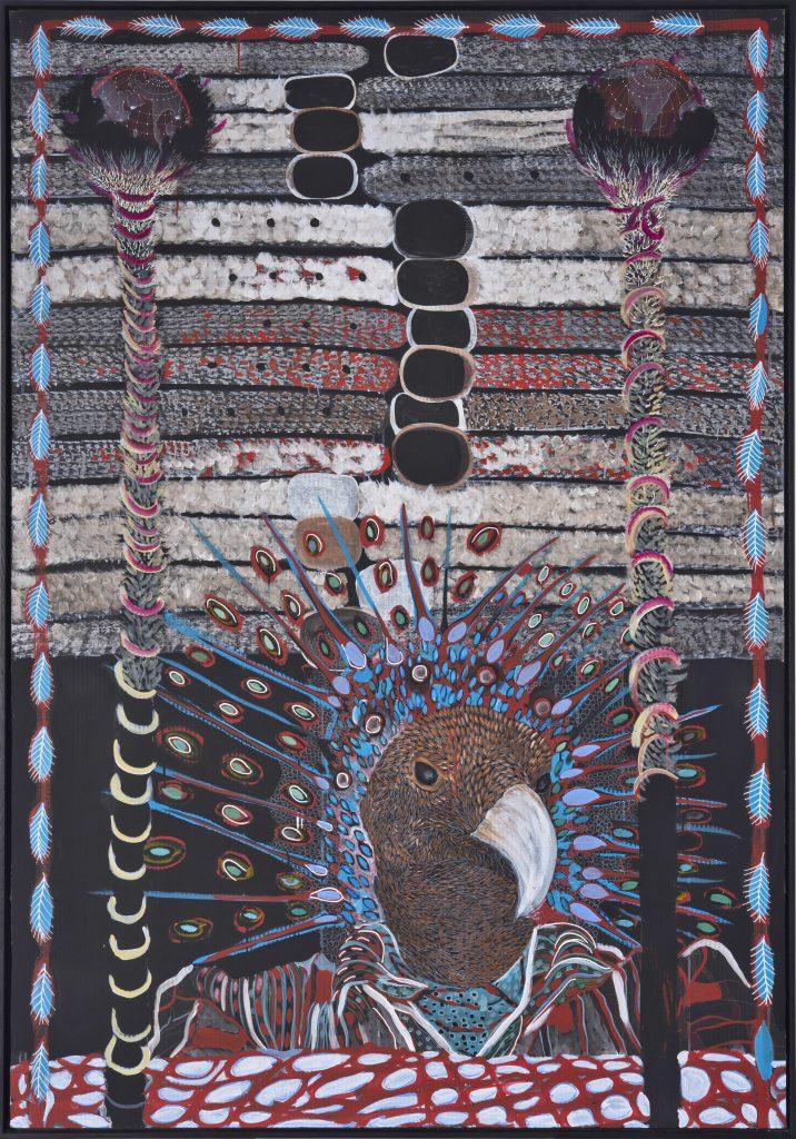 Omar Ba 'Plateforme de la Paix - CPI', 2016 Huile, crayon, encre de chine, acrylique, gouache sur carton ondulé / Oil, pencil, India ink, acrylic, gouache on corrugated cardboard. 204 x 144 cm ; 80 5/16 x 56 11/16 in. Courtesy of the artist and the gallery Daniel Templon, Paris and Brussels.