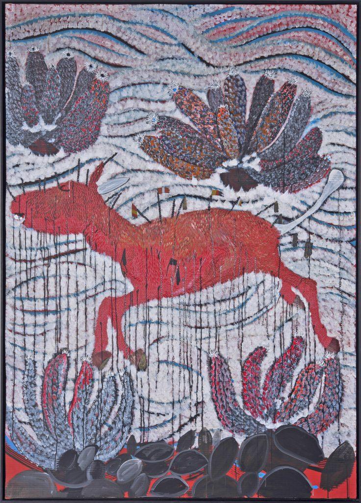 Omar Ba 'Plateforme de la confiance - richesse pillage à huis clos 2', 2016 Huile, crayon, encre de chine, acrylique, gouache sur carton ondulé / Oil, pencil, India ink, acrylic, gouache on corrugated cardboard. 205 x 144,5 ; 80 11/16 x 56 7/8 in. Courtesy of the artist and the gallery Daniel Templon, Paris and Brussels.
