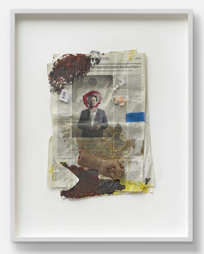 Guillaume Leblon Democratie Contre Les Marches, 2015 Mixed media 78 x 61 x 7 cm. Courtesy of the artist and carlier | gebauer. Photo: Gunter Lepkowski.