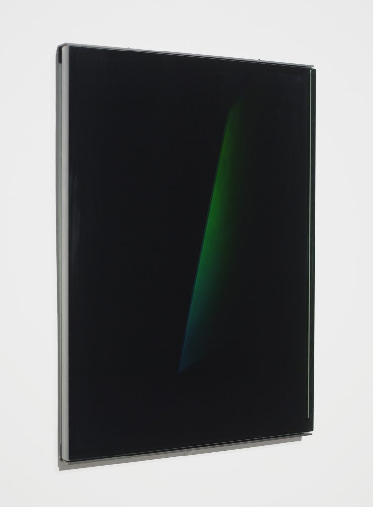 "James Turrell Untitled (XIV C), 2005 reflection hologram 23"" x 17"" (58.4 cm x 43.2 cm) Photo by: Kerry Ryan McFate / Pace Gallery."
