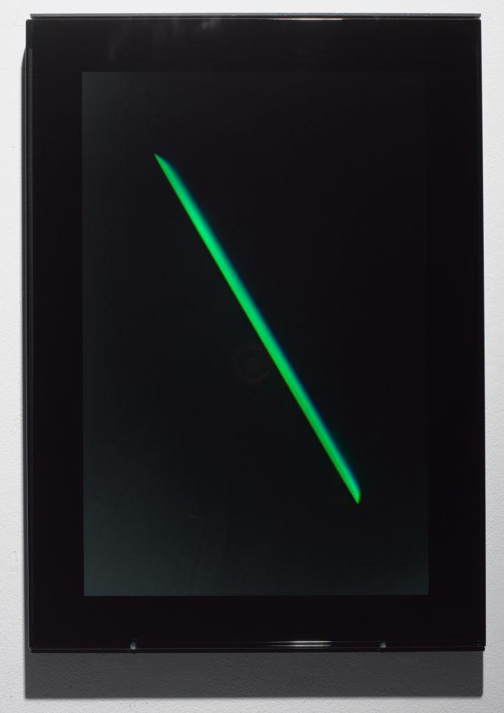 "James Turrell XC, 2004 reflective hologram 22-1/2"" x 16-1/2"" (57.2 cm x 41.9 cm) Photo by: Tom Barratt / Pace Gallery."