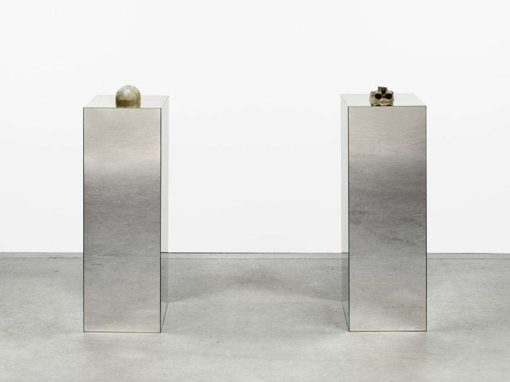 Narziss & Goldmund, 2016 skull, mirror plinth, 2 parts each 135 x 40 x 40 cm; 53 x 16 x 16 in, unique. All images courtesy of the artist and KÖNIG GALERIE Photographer: Roman März