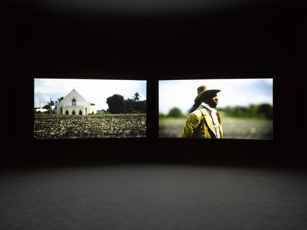 Installation view of John Akomfrah at Lisson Gallery, New York, 24 June – 12 August 2016. Copyright Smoking Dogs Films; Courtesy Lisson Gallery. Photography: Jack Hems