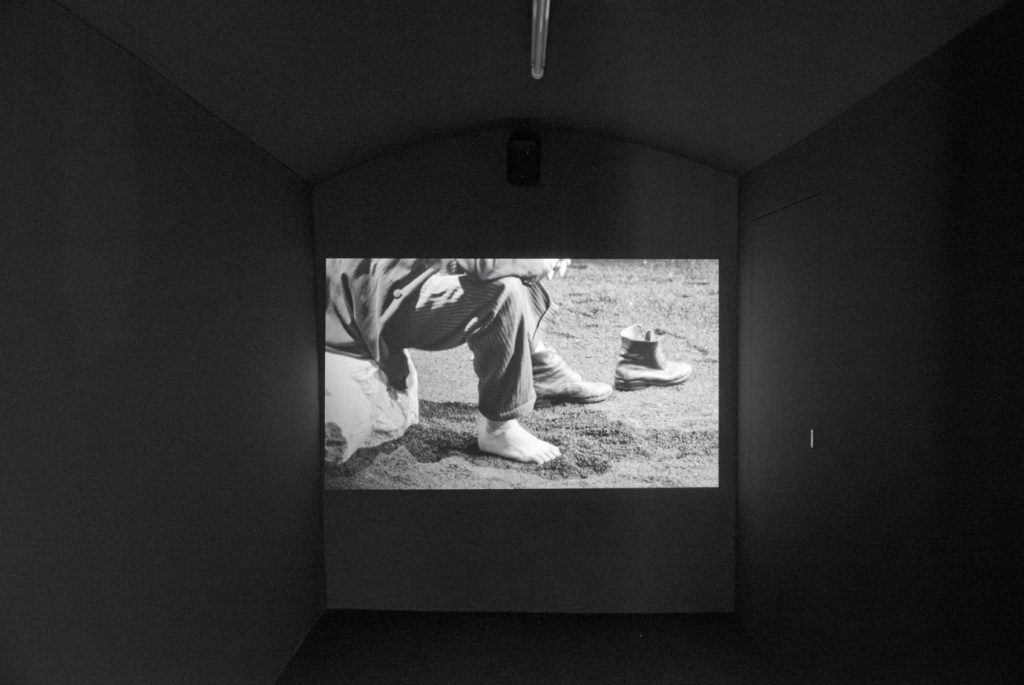 Gerard Byrne He searches for the contrary of saved, 2014 single channel black and white hd video with sound Indefinite loop (20 mins approx, looped) © Gerard Byrne; Courtesy Lisson Gallery.