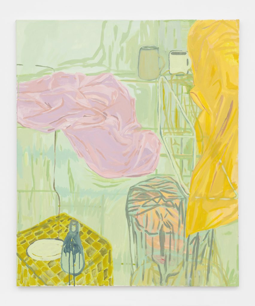 Chelsea Cater Domesticate (green drapes), 2015-2016 Acrylic on canvas 48 x 40 x 1 inches (121.9 x 101.6 x 2.5 cm) Courtesy the artist and David Zwirner, New York/London.
