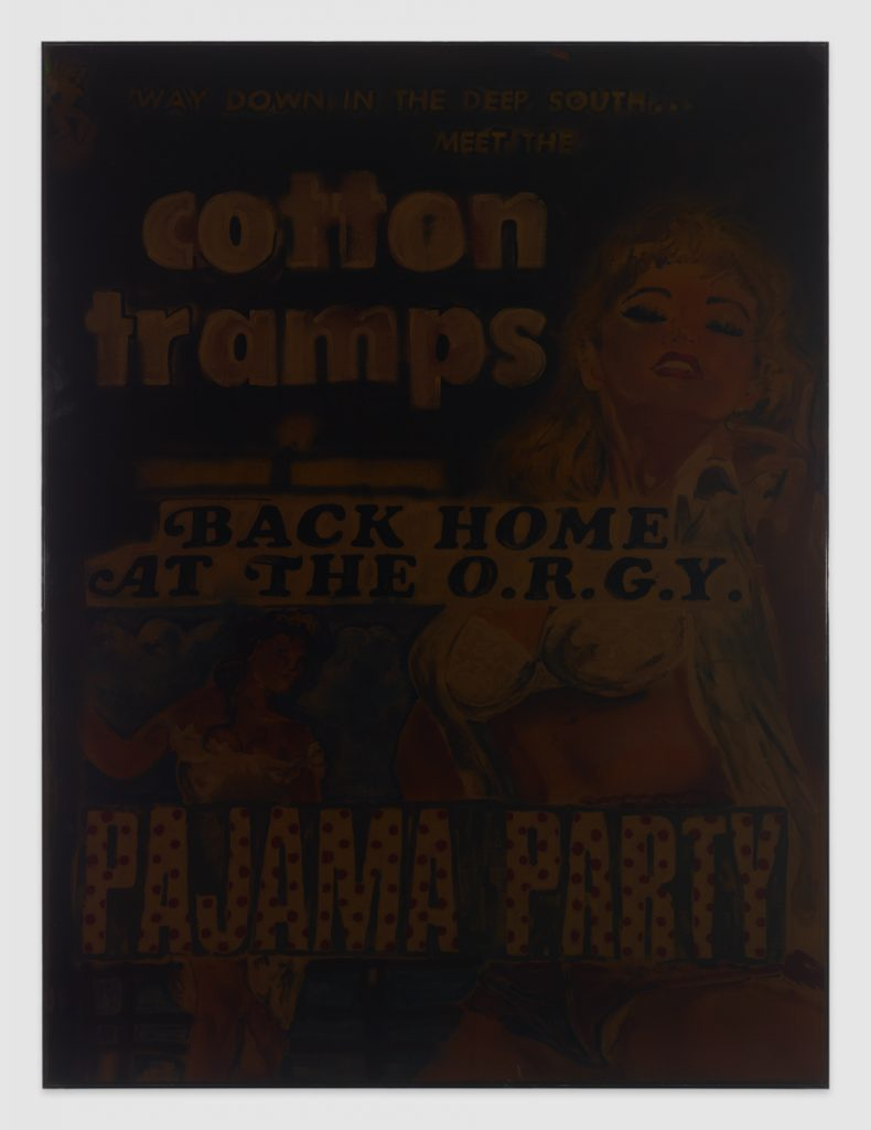 Catharine Czudej Cotton Tramps, 2016 spray paint and gouache on canvas, plexi glass 164,2 × 123,5 × 4,6 cm. Courtesy of Office Baroque.