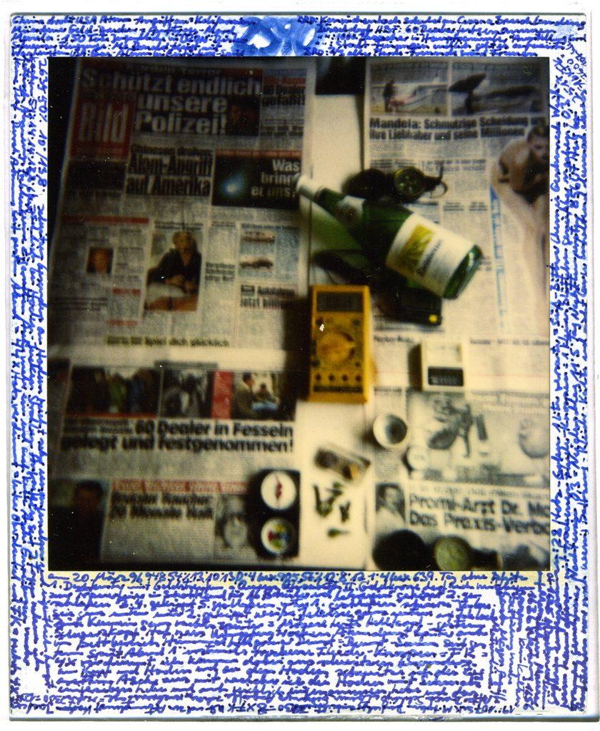 Horst Ademeit, 2590, 20.03.1996, mixed media on Polaroid, 9 x 11 cm. Estate of Horst Ademeit _ Delmes & Zander, Berlin + Cologne.