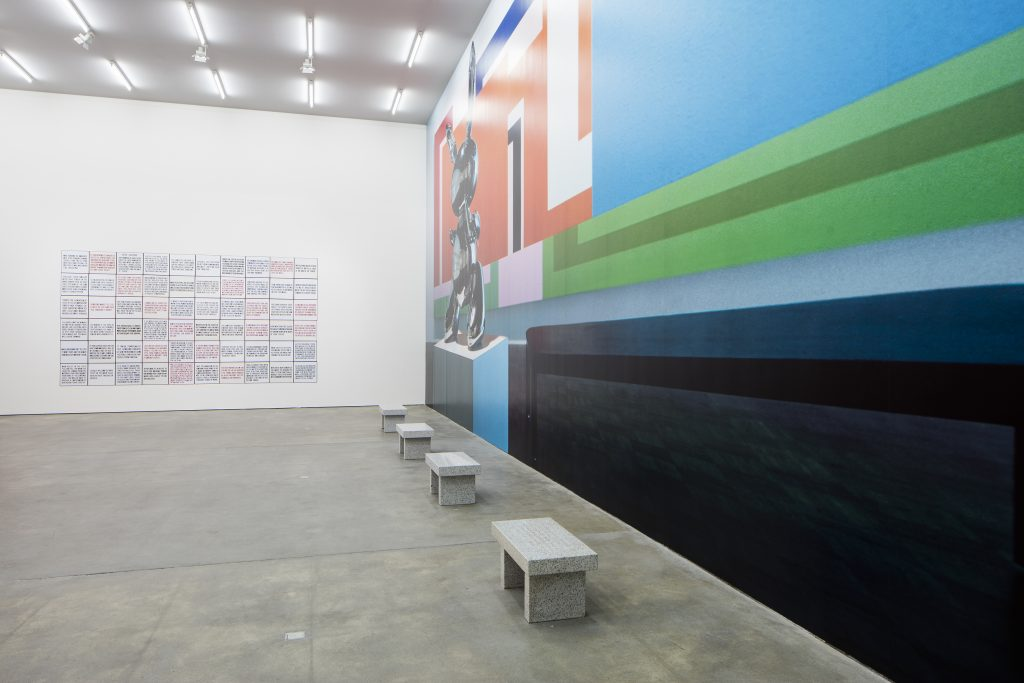 Installation view (Jenny Holzer and Louise Lawler), 'Eau de Cologne', Sprüth Magers, Berlin, September 17 - October 21, 2015. Photography: Timo Ohler.