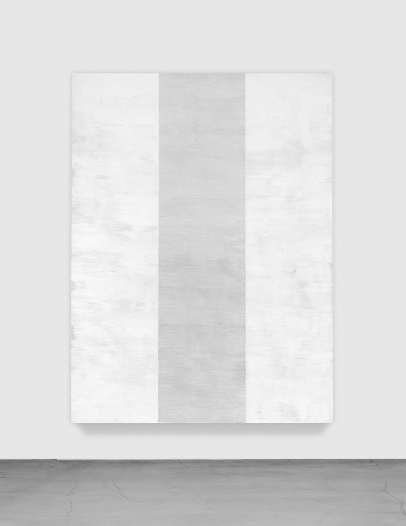 MARY CORSE Untitled (White Inner Band, Beveled), 2011 glass microspheres in acrylic on canvas 96 x 72 x 4 inches 243.8 x 182.9 x 10.2 cm Courtesy the artist and Lehmann Maupin, New York and Hong Kong.