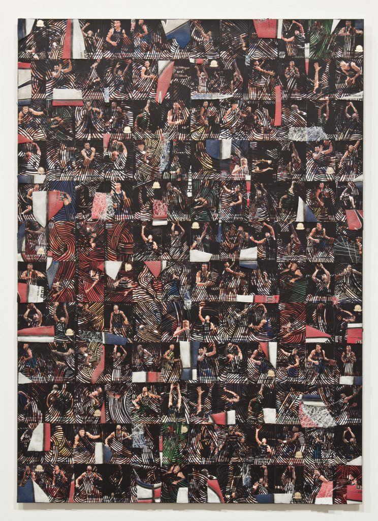 NARI WARD Class is in Session, 2012 krink marker, basketball trading cards and collaged basketball mounted on aluminum 42 x 30 inches 106.7 x 76.2 cm Courtesy the artist and Lehmann Maupin, New York and Hong Kong.