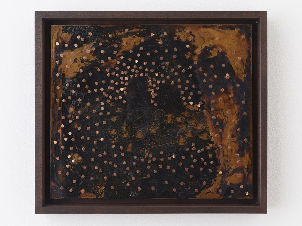 NARI WARD #311, 2014 copper sheet on board and copper tacks 12 x 14 inches 30.5 x 35.6 cm 13.75 x 15.75 x 1.5 inches (framed) 34.9 x 40 x 3.8 cm Photo: Elisabeth Bernstein Courtesy the artist and Lehmann Maupin, New York and Hong Kong.