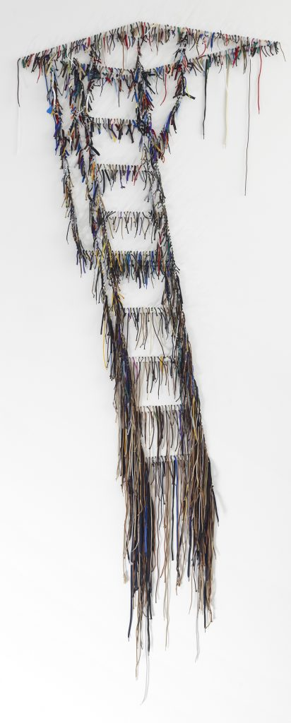 NARI WARD Scape, 2012 shoelaces 120 x 51 x 3 inches 304.8 x 129.5 x 7.6 cm Courtesy the artist and Lehmann Maupin, New York and Hong Kong