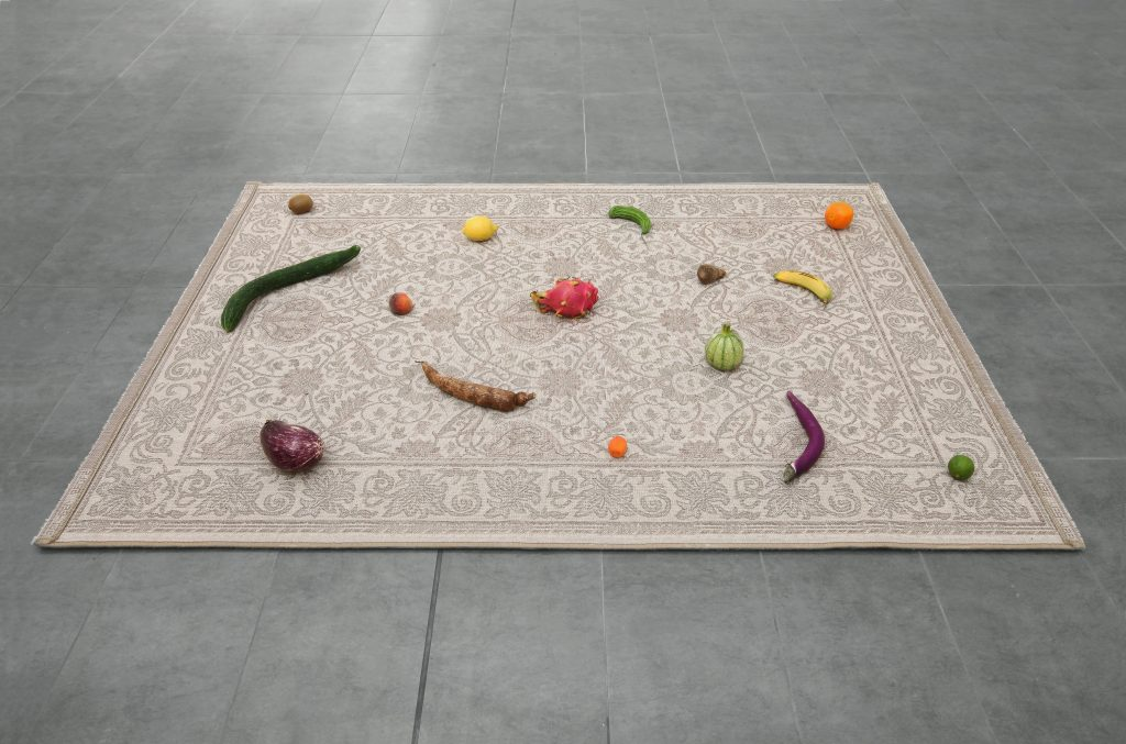Nicolás Lamas 'Natural Pattern' (2016) Carpet, vegetables and fruits cm. 195x135 (in. 76 3/4x53 1/8). Courtesy of Brand New Gallery.