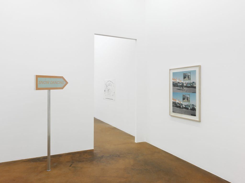 On the left: Philippe Parreno, Snow Dancing, 1995, private collection; at the center: Pierre Huyghe, Death Star Interior, 1997-1998, MAMCO collection, gift of Hard Hat; on the right: Pierre Huyghe, Géant Casino, Montpellier, 1999, private collection. Photo : Annik Wetter – MAMCO, Geneva