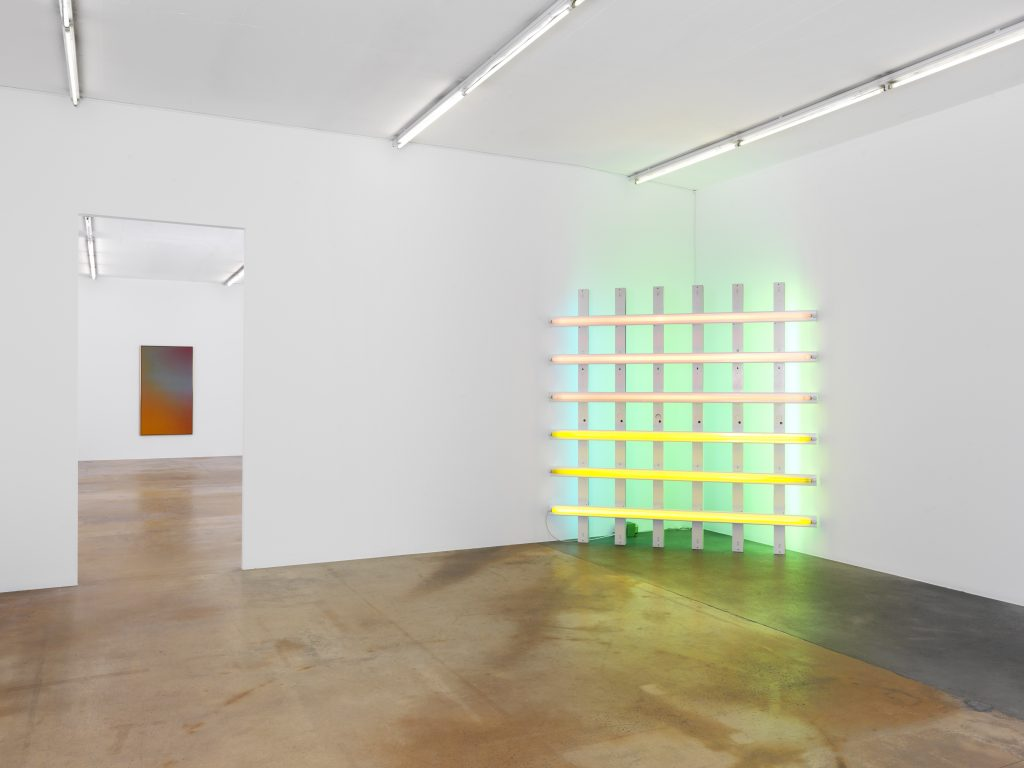 On the left: Jules Olitski, Kusha, 1965, Pierre Darier collection; on the right: Dan Flavin, Untitled (to Harold Joachim), 1977, private collection, on long term loan at MAMCO.