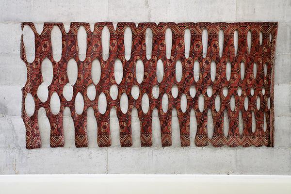 Ariel Schlesinger, Untitled, 2014, Burnt Carpet, 245x500 cm, Unique. Courtesy of the artist and Dvir Gallery.