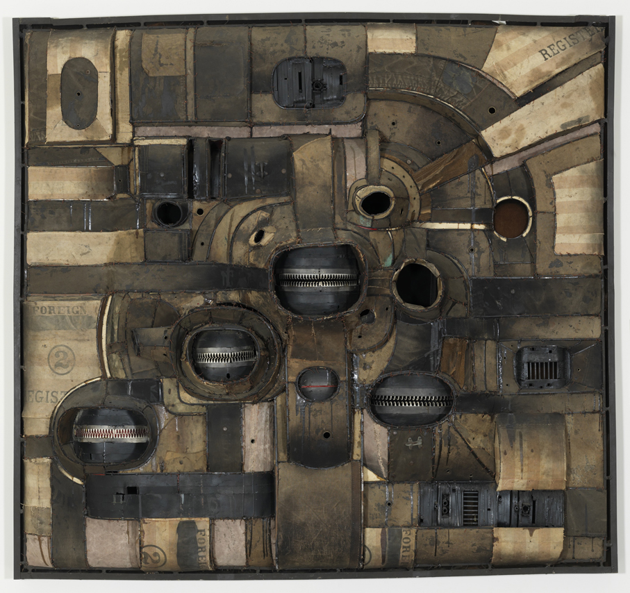 Lee Bontecou Untitled 1964 Welded steel, canvas, velvet hooks, grommets, sockets, velveteen, pipe fittings, fiberglass, corduroy, spark plugs, paint, and wire 72 x 80 in / 182.9 x 203.2 cm © Lee Bontecou Honolulu Museum of Art Purchase, 1968 (35451) Photo: Shuzo Uemoto, Honolulu Museum of Art