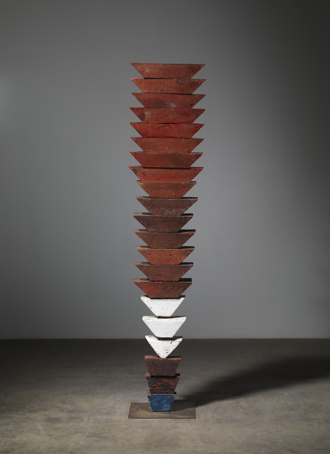 Louise Bourgeois, Untitled (The Wedges) 1950 Wood, painted, and stainless steel 63 × 13 1/2 × 12 in / 160 × 34.3 × 30.5 cm Collection The Easton Foundation