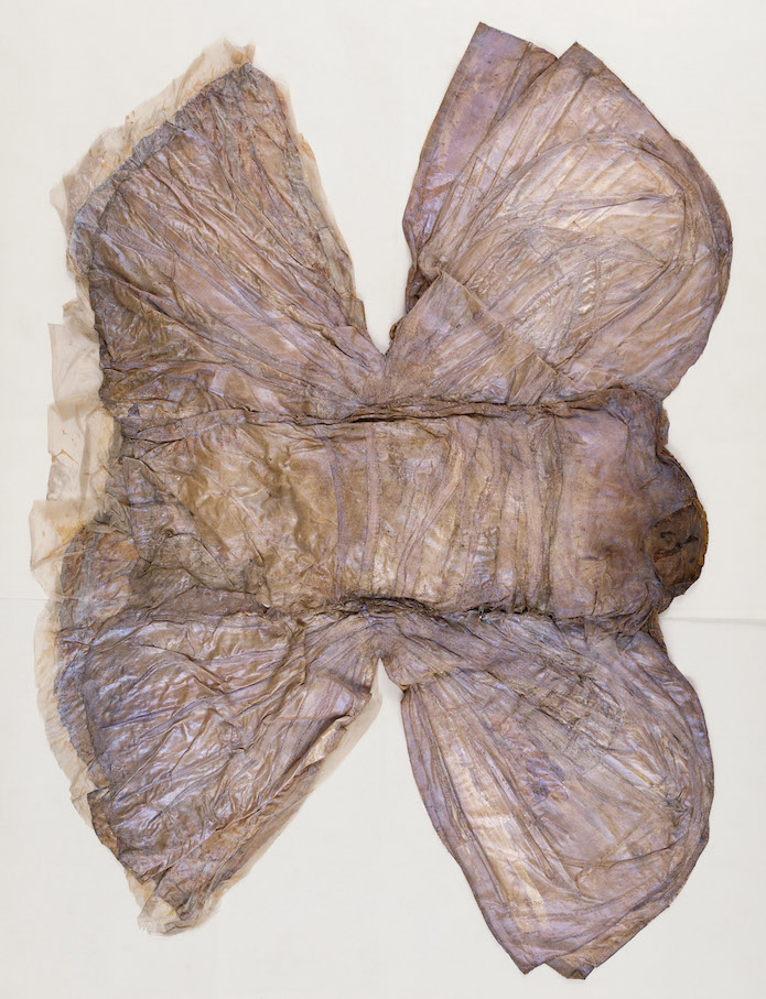 Heidi Bucher Dragonfly ca 1976 Textile, latex, Mother-of-pearl pigments Approx: 246 x 295 x 15 cm / 96 7/8 x 116 1/8 x 5 7/8 in © Heidi Bucher Courtesy The Estate of Heidi Bucher and Freymond-Guth Fine Arts