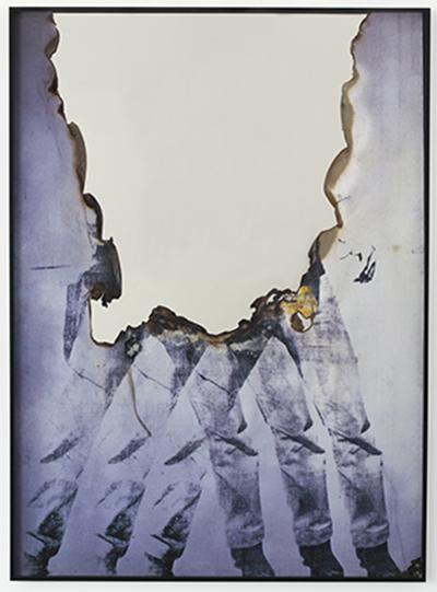 "Douglas Gordon's ""Self Portrait of You + Me (Elv)"", 2015, Burned print, smoke and mirror, 168,5 x 123 x 5 cm, Unique piece. Courtesy of Dvir Gallery."