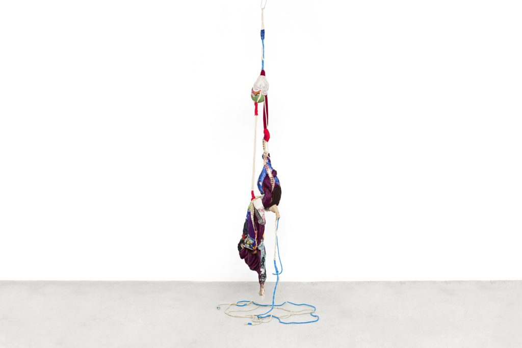 Sonia Gomes Pendente 2 2016 Stitching, bindings, different fabrics and laces on wire and rope 600 x 80 x 80 cm / 236 1/4 x 31 1/2 x 31 1/2 in © Sonia Gomes Courtesy Mendes Wood DM, São Paulo, Brazil