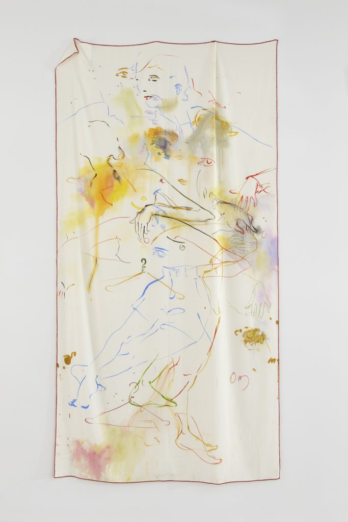 France-Lise Mcgurn 'My arms and legs around you baby, gush, gush, gush' 2016. Acrylic, spray paint and marker pen on cotton mix, 112 X 56 1/2 in. 'Sexting', Kate Werble Gallery, New York, NY, July 21, 2016 - August 19, 2016. Courtesy of the artist and Kate Werble Gallery, New York, NY. Photography: Elisabeth Bernstein.