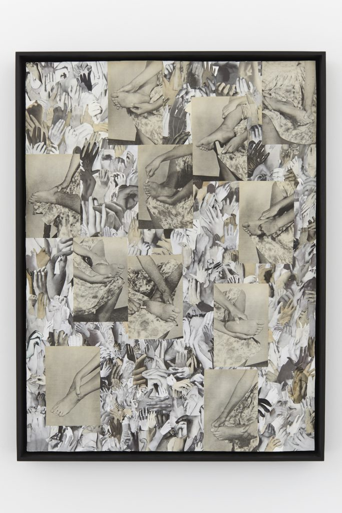 Carmen Winant 'Looking forward to being attacked', 2016. Collage, 31 1/4 X 23 1/2 in (framed). 'Sexting', Kate Werble Gallery, New York, NY, July 21, 2016 - August 19, 2016. Courtesy of the artist and Kate Werble Gallery, New York, NY. Photography: Elisabeth Bernstein.