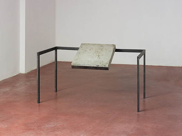 Miroslaw Balka, 80 x 140 x 80 / Gravity, 2015, concrete slab, steel, 80 x 140 x 80 cm, Unique. Courtesy of Dvir Gallery.