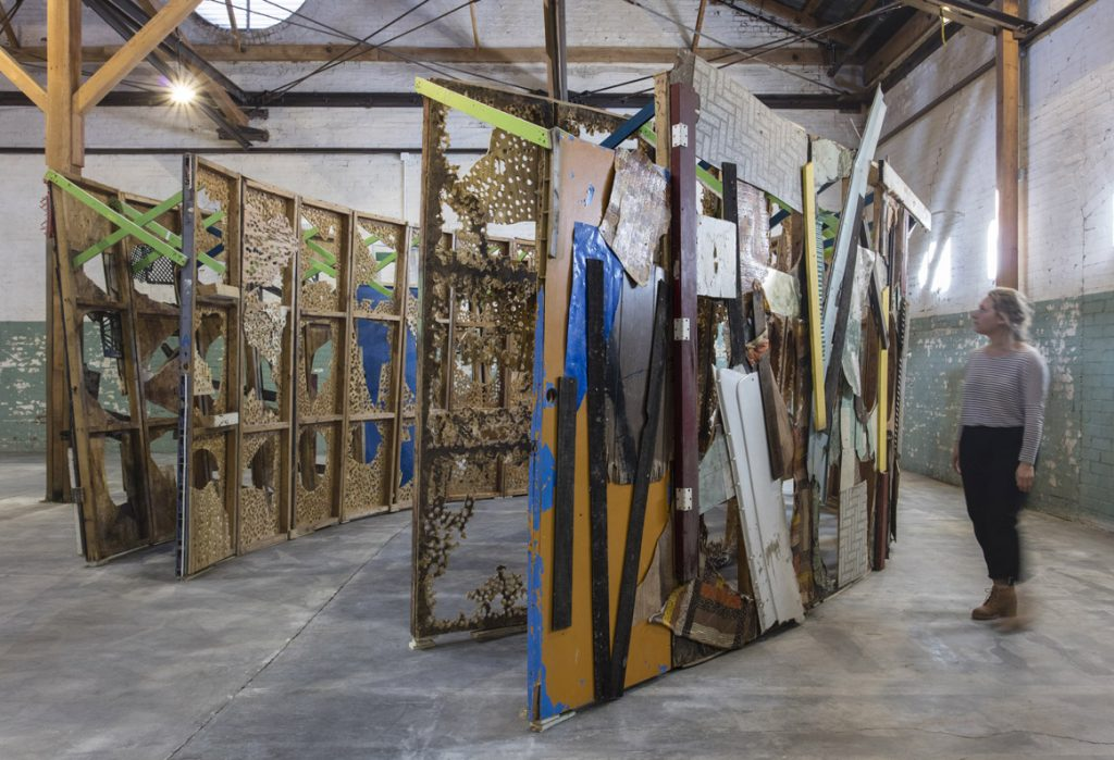 Abigail DeVille, Intersection, 2014 Installation view, 'Revolution in the Making: Abstract Sculpture by Women, 1947 – 2016', Hauser Wirth & Schimmel, 2016 Courtesy the artist and Hauser & Wirth Photo: Brian Forrest