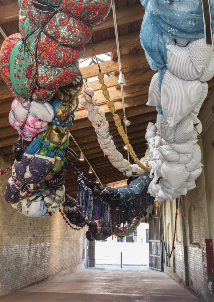 Shinique Smith, Forgiving Strands, 2015 – 2016 Installation view, 'Revolution in the Making: Abstract Sculpture by Women, 1947 – 2016', Hauser Wirth & Schimmel, 2016 Courtesy the artist and Hauser & Wirth Photo: Brian Forrest