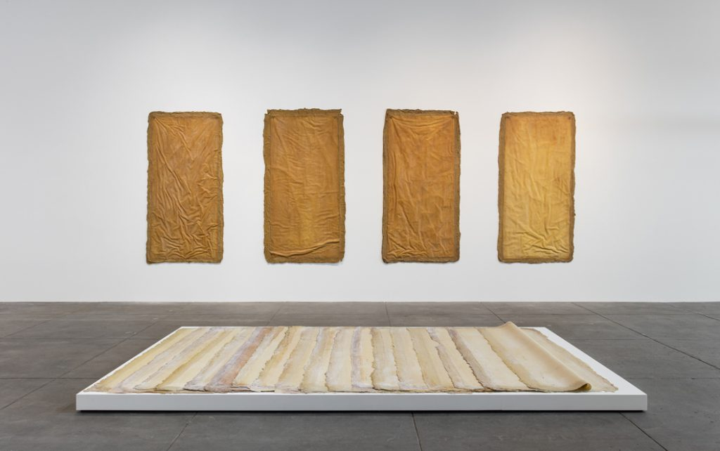 (Wall) Eva Hesse, Aught, 1968 University of California, Berkeley Art Museum and Pacific Film Archive; gift of Mrs. Helen Charash (Floor) Eva Hesse, Augment, 1968 Private Collection, Germany Installation view, 'Revolution in the Making, Abstract Sculpture by Women, 1947 – 2016', Hauser Wirth & Schimmel, 2016 Courtesy the Estate of Eva Hesse and Hauser & Wirth Photo: Brian Forrest