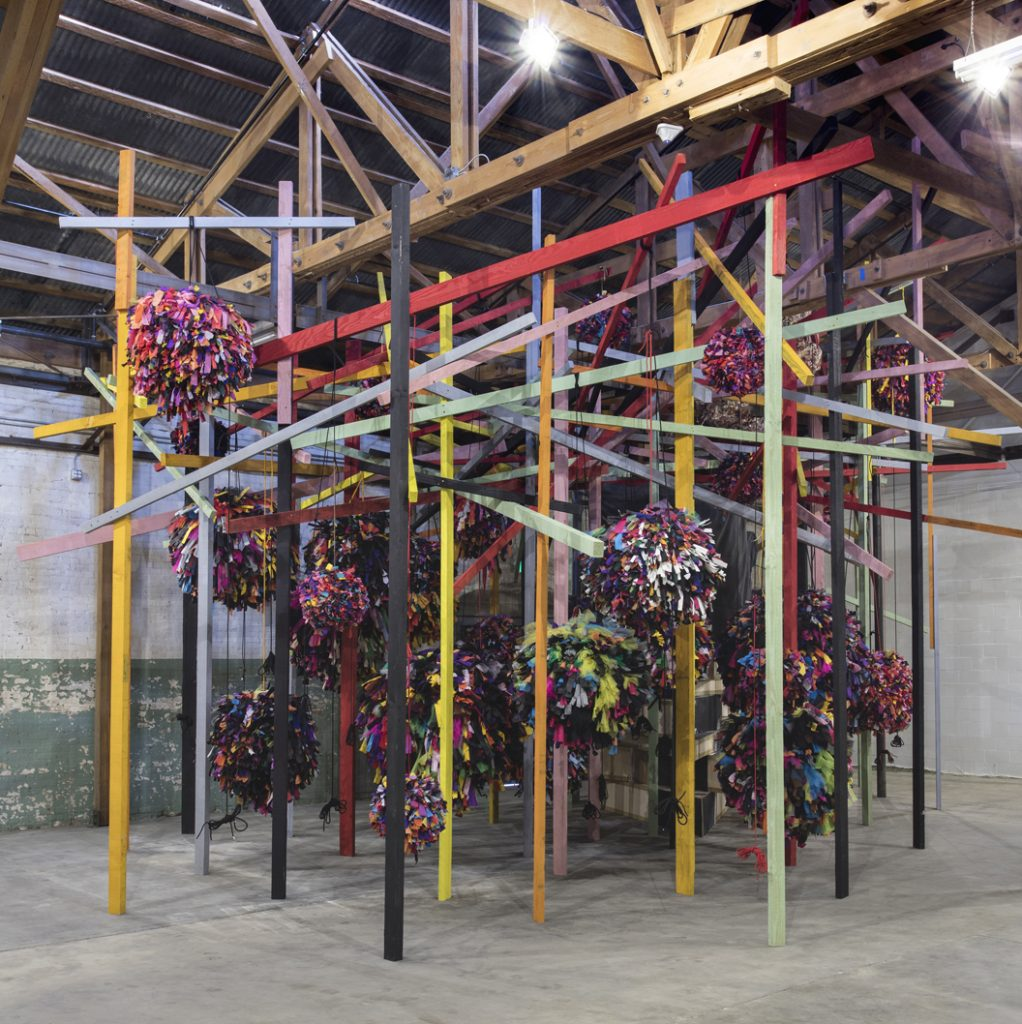 Phyllida Barlow, untitled: pianoframeandcover, 2014 Phyllida Barlow, untitled: GIG, 2014 – 2015 Installation view, 'Revolution in the Making: Abstract Sculpture by Women, 1947 – 2016', Hauser Wirth & Schimmel, 2016 Courtesy the artist and Hauser & Wirth Photo: Brian Forrest
