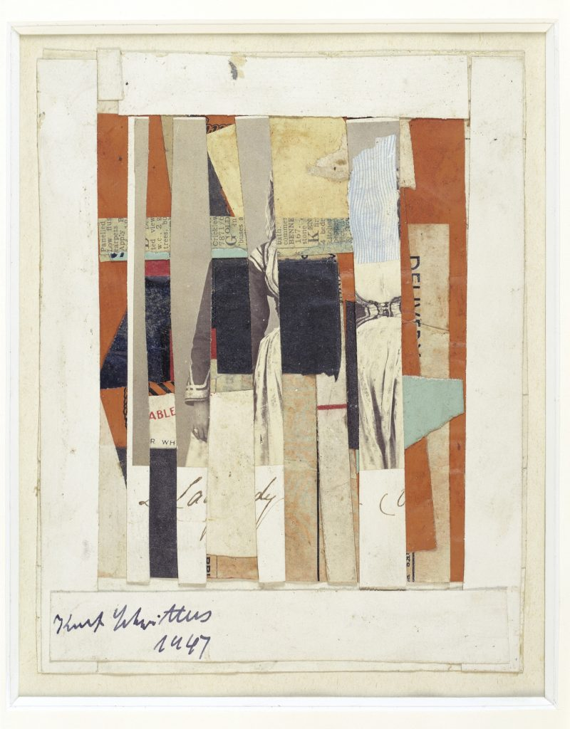 Kurt Schwitters Ohne Titel (ABLE) (Ohne Titel (FÄHIG) / Untitled (ABLE)) 1947 Collage, paper, cardboard and photography on paper, fixed under passepartout 16.8 x 13.3 cm / 6 5/8 x 5 1/4 in Passepartout: 29.8 x 25.5 cm / 11 3/4 x 10 in © V G Bild Kunst / ProLitteris / ADAGP Courtesy the Kurt and Ernst Schwitters Foundation and Hauser & Wirth.
