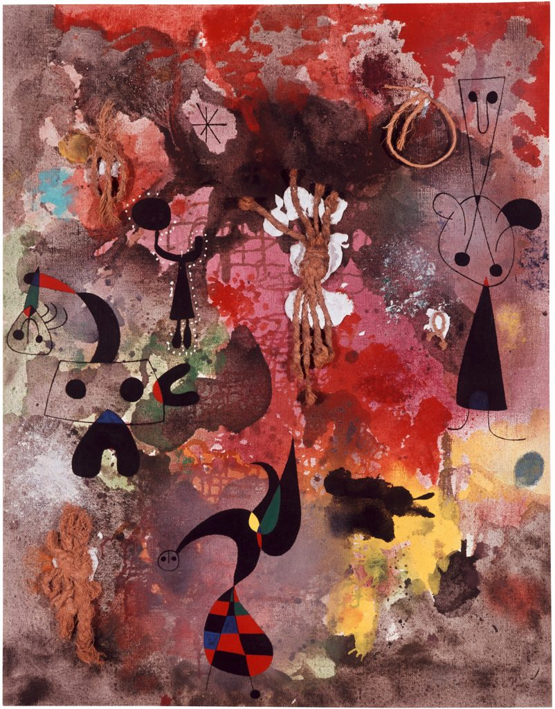 Joan Miró Composition avec des cordes (Composition with Strings) 1950, Oil, strings, and casein on canvas, 99 x 76 cm / 39 x 29 7/8 in © ProLitteris / ADAGP Courtesy Collection Van Abbemuseum, Eindhoven, Netherlands and Hauser & Wirth.