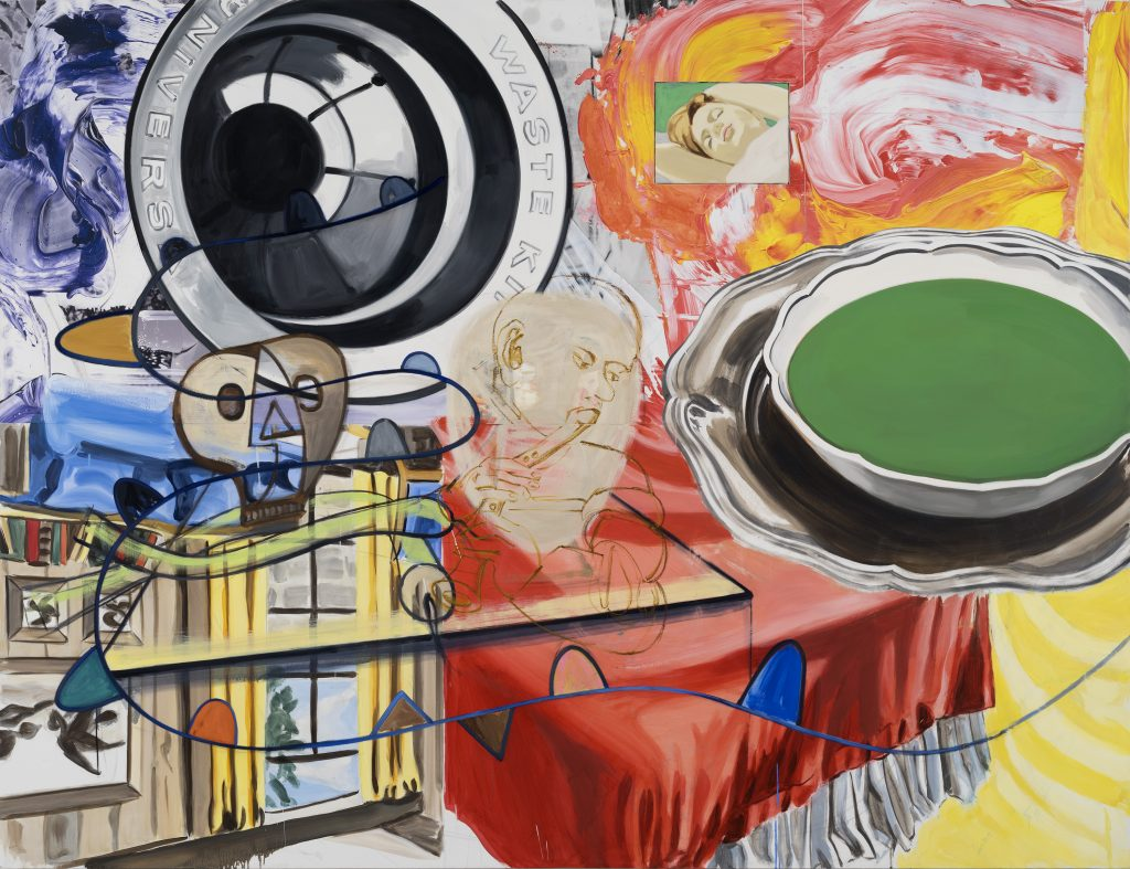 DAVID SALLE Playing, Dreaming, 2015 oil, acrylic, crayon, and archival digital print on linen 78 x 101.75 inches (linen) 198.1 x 258.4 cm 79.75 x 103.75 x 2.625 inches (framed) 202.6 x 263.5 x 6.7 cm Photo: John Berens © David Salle, licensed by VAGA, New York. Courtesy the artist and Lehmann Maupin, Hong Kong.