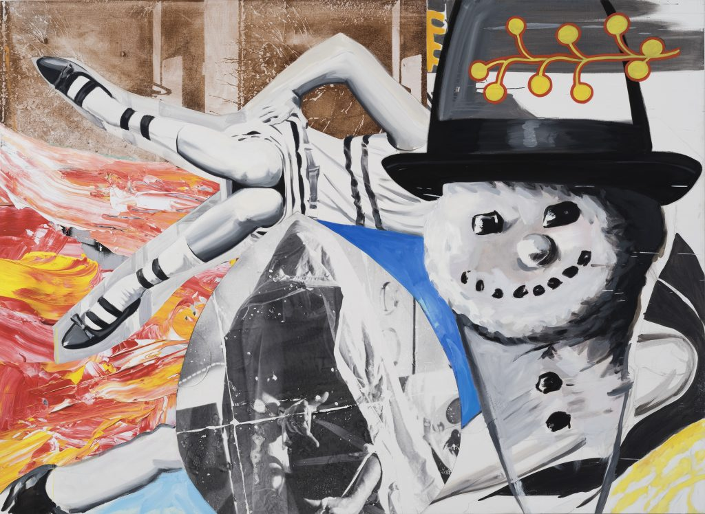 DAVID SALLE Smoke Kools, 2014-2016 oil and acrylic with silkscreen and digital and transfer prints on canvas and linen 67 x 92 inches (canvas) 170.2 x 233.7 cm 68.875 x 93.875 inches (framed) 174.9 x 238.4 cm Photo: John Berens © David Salle, licensed by VAGA, New York. Courtesy the artist and Lehmann Maupin, Hong Kong.