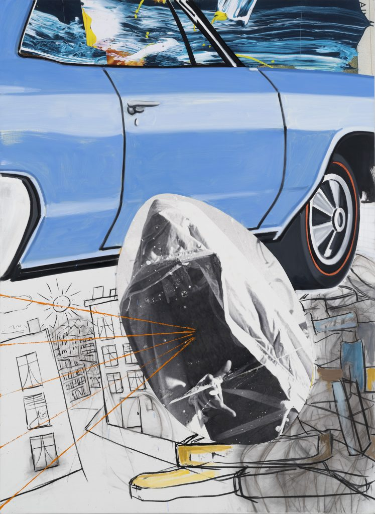 DAVID SALLE Buick-Town, 2016 oil, acrylic, charcoal, and archival digital transfer and print on linen 66 x 48 inches (canvas) 167.6 x 121.9 cm 67.75 x 49.75 inches (framed) 172.1 x 126.4 cm Photo: John Berens © David Salle, licensed by VAGA, New York. Courtesy the artist and Lehmann Maupin, Hong Kong.
