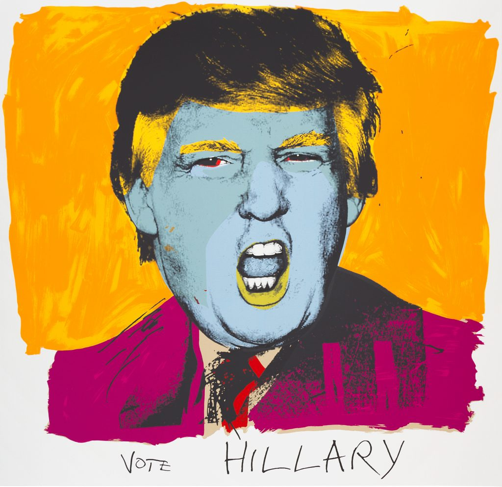 DEBORAH KASS Vote Hillary, 2015 Silkscreen on Stonehenge 320 gram paper, 42 × 42 in, 106.7 × 106.7 cm. Courtesy Brand New Gallery.