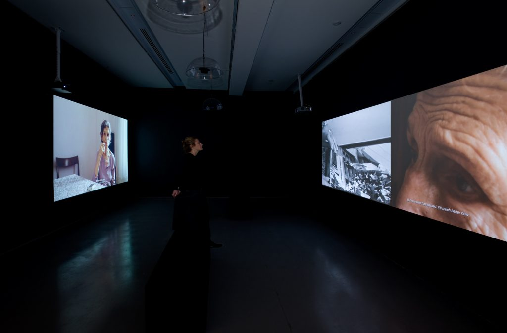 Zineb Sedira, Gardiennes d'images (Image Keepers), 2010. 19 min. double projection, 30 min single projection. Installation view: Palais de Tokyo. Photo André Morin