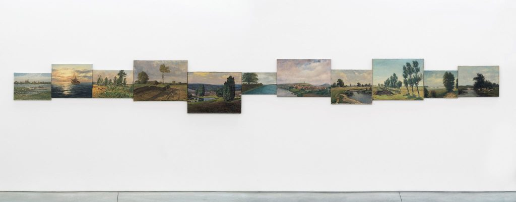 HANS-PETER FELDMANN Horizon 11 oil paintings 34 x 281 1/4 inches (86.4 x 714.4 cm). Courtesy of 303 Gallery.
