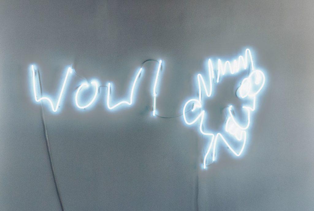 Christian Jankowski Wow!, 2013 Neon sculpture, 230 x 212 cm, 90.6 x 83.5 in. © Christian Jankowski; Courtesy Lisson Gallery