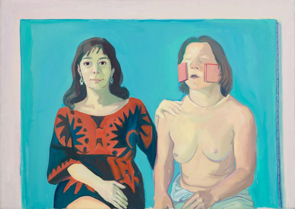 "Selbstportraet mit Silvia/Silvia Goldsmith und ich, 1972/73 Oil on canvas, 49.61 x 70.08 inches, 126 x 178 cm, on back ""Selbstportraet mit Silvi"". © Maria Lassnig Foundation, photo: Roland Krauss."