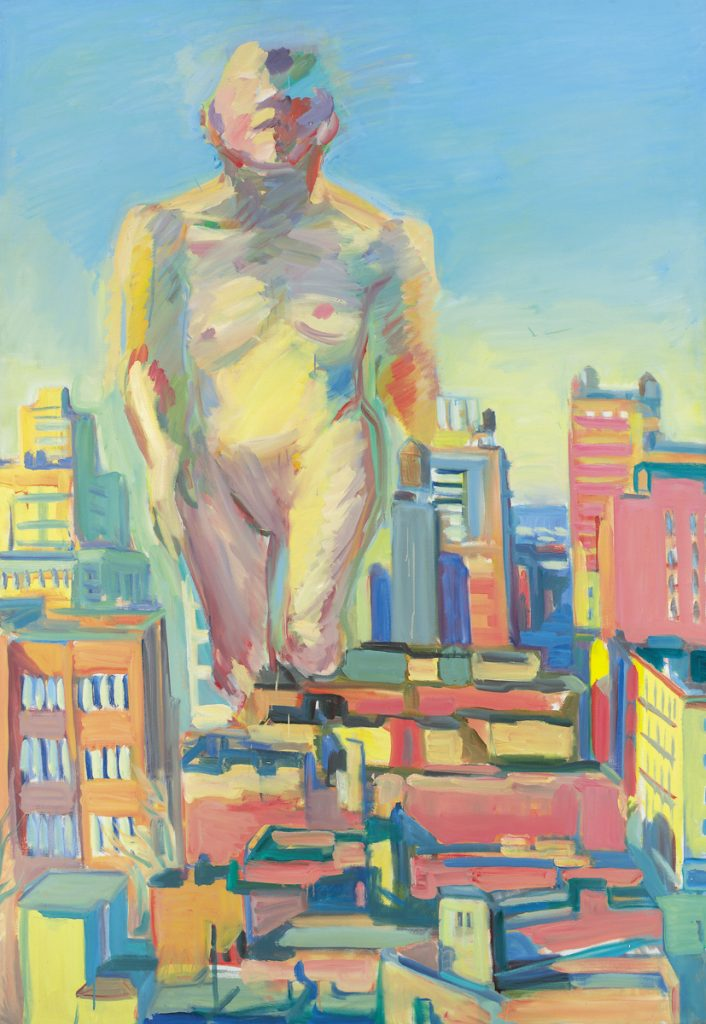 'Woman Power', 1979 Oil on canvas, Framed Dimensions: 72.44 x 50.39 x 1.97 inches, 184 x 128 x 5 cm, Image Dimensions: 71.65 x 49.61 inches, 182 x 126 cm. © Maria Lassnig Foundation / The Essl Collection, Klosterneuburg / Vienna. Photo: Graphisches Atelier Neumann, Vienna